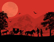 Carriage and lovers at red sunset