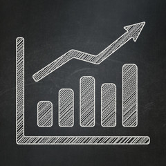 Advertising concept: Growth Graph on chalkboard background