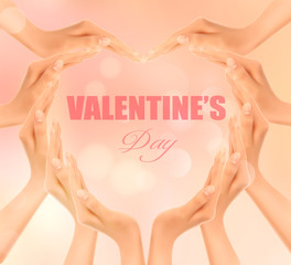 Retro holiday background with hands making a heart. Valentine's