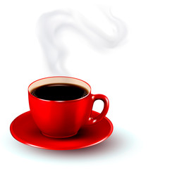 Perfect red cup of coffee with steam. Coffee design template. Ve