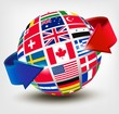 Flags of the world on a globe with an arrow. Vector illustration
