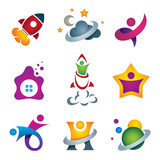 Man in space travel logo set