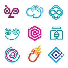 Simple line social network icon and logo set