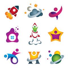 Man in space travel logo set