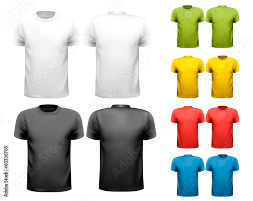 Colorful male t-shirts. Design template. Vector. - 60336765