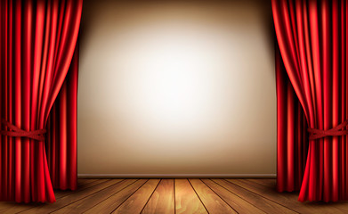 Background with red velvet curtain and a wooden floor. Vector il