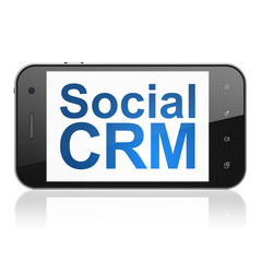 Business concept: Social CRM on smartphone