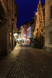 Street of Ljubljana's Christmas decorated old center, Slovenia
