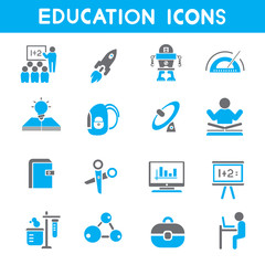 education icons, blue color theme