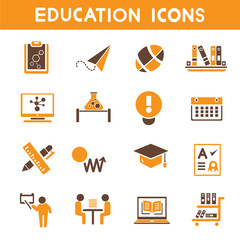education icons, school icons, orange color theme icons