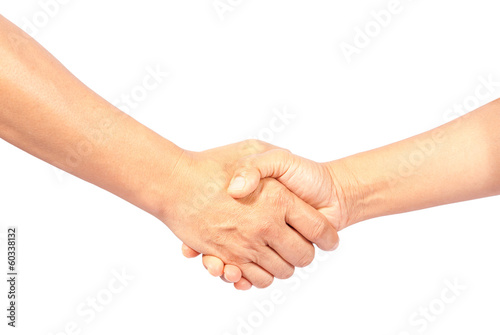 asia man and woman shaking hands, isolated on white