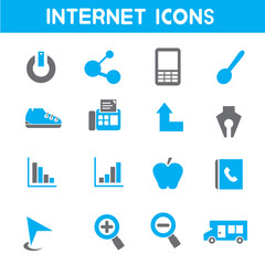 internet icons, blue color theme