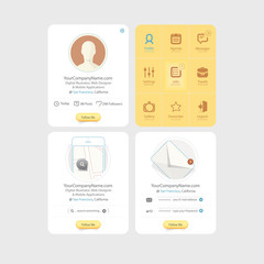 flat kit UI navigation portfolio elements with icons.
