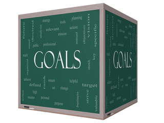 Goals Word Cloud Concept on a 3D cube Blackboard