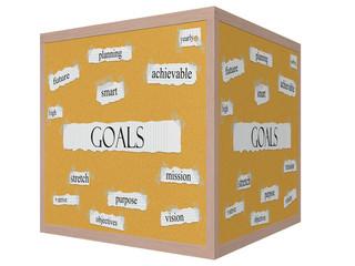 Goals 3D cube Corkboard Word Concept
