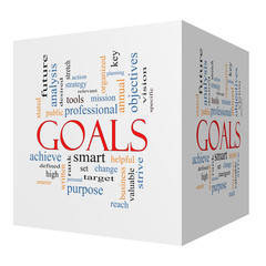 Goals 3D cube Word Cloud Concept