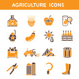 agriculture icons, orange color theme