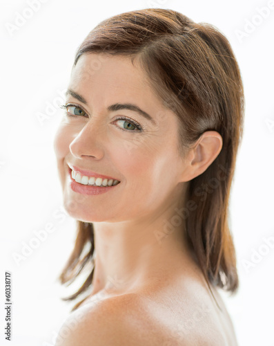 portrait of a beautiful mature lady with radiant skin