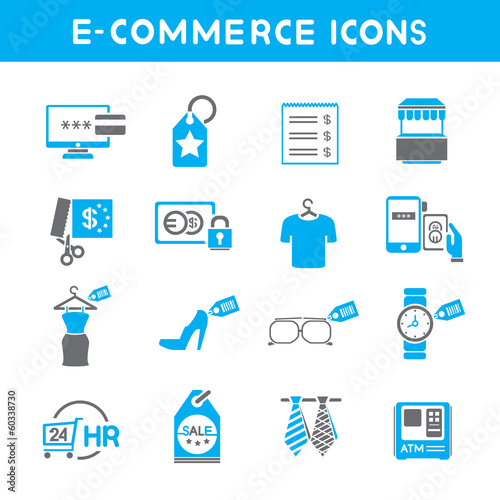 e commerce icons, blue color theme icons