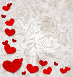 set crumpled paper hearts on grunge floral background