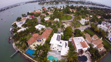 Palm Island Miami Beach aerial footage