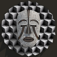 African Woyo mask composition 3d illustratied