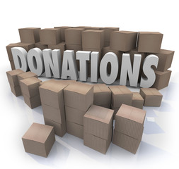 Donations Word Cardboard Boxes Charity Drive Collection Warehous