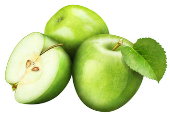juicy green apple with leaf on white background , fruits