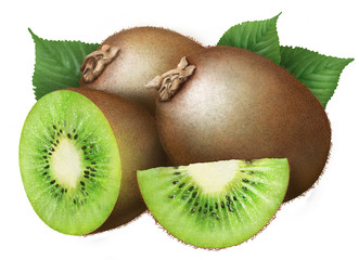 juicy kiwi with leaves on white background , fruits