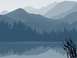 blue and grey lake in mountain forest - 60340798