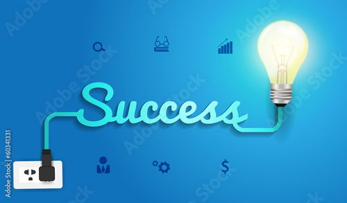 Vector success concept with creative light bulb idea