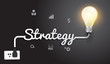 Vector strategy concept with creative light bulb idea