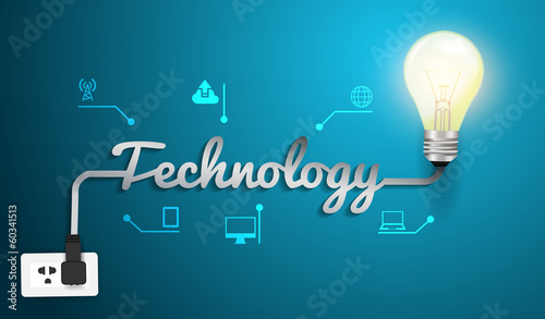Vector technology concept with creative light bulb idea