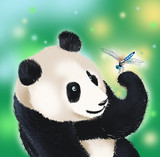 panda bear and dragonfly