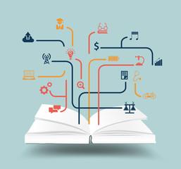 Open book with education icon idea concept