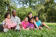 Happy interracial family of six sits on grass on lawn in park
