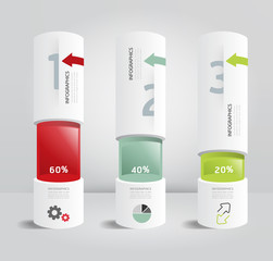 infographic template Modern box cylinder Design Minimal style /