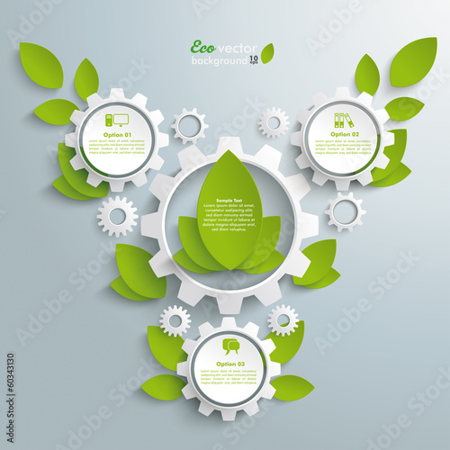 Big Eco Gear With Green Leaves 3 Options
