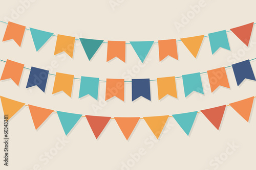 Vector party flags in pastel palette - 60343381