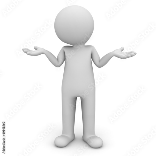 3d man standing and having no idea isolated over white