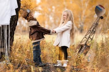Children in field clear autumn day