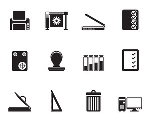 Silhouette Print industry Icons - Vector icon set