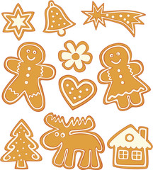 cute Christmas gingerbread cookies on white background.