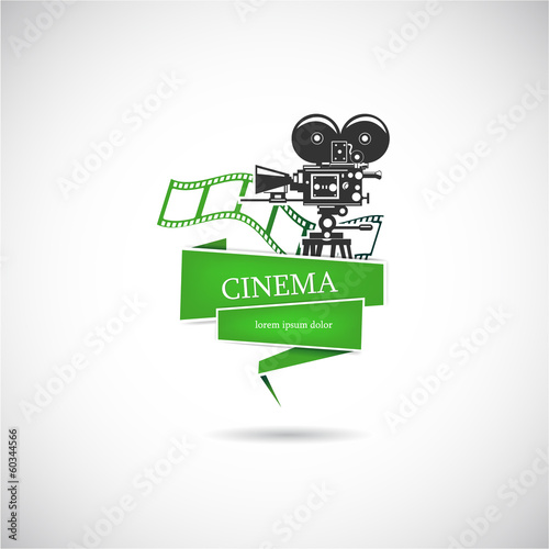Label with a film camera for the movie. Vector.