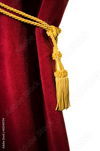 Red velvet curtain with tassel
