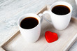 Valentine coffee cups with heart