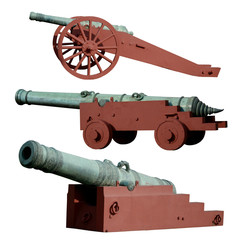 Set of ancient cannon isolated