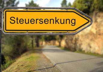 Strassenschild 14 - Steuersenkung