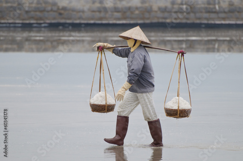 Gathering salt in Vietnam