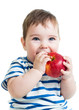 Portrait of baby boy holding and eating red apple, isolated on w